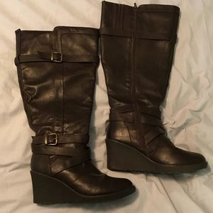 Lane Bryant Dark Brown Wedge Heel Boots